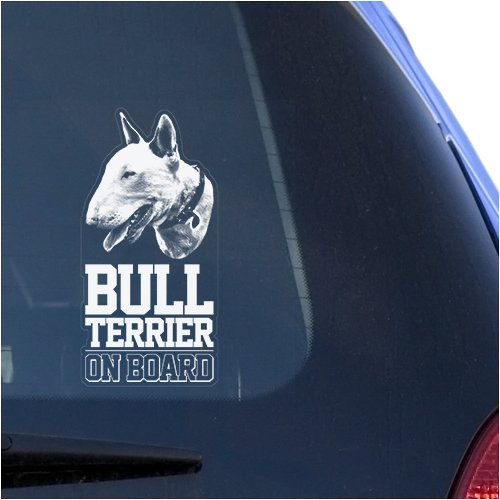 (Bull Terrier Clear Decal Sticker Portrait for Window, English Bully Dog Sign Art Print)