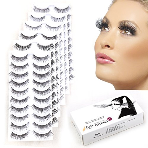 Bella Hair 60 Pairs Reusable Handmade Fake Eyelashes, Imperceptible Lash Band Combined with 6 Natural  Dramatic Styles