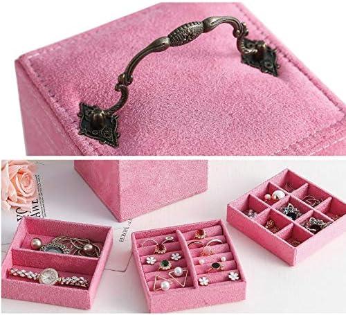 ZHAO YING Retro Contenitore a Tre Strati di monili, Gioielli Organizzatore, Portatile Custodia da Viaggio, for Gli Anelli, Orecchini, collane, Velluto Fodera (Color : Purple) White Pink