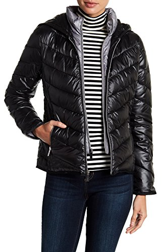 Kenneth Cole Quilted Coat - Kenneth Cole New York Women's Hooded Quilted Lightweight Short Puffer Coat (XS, Black)