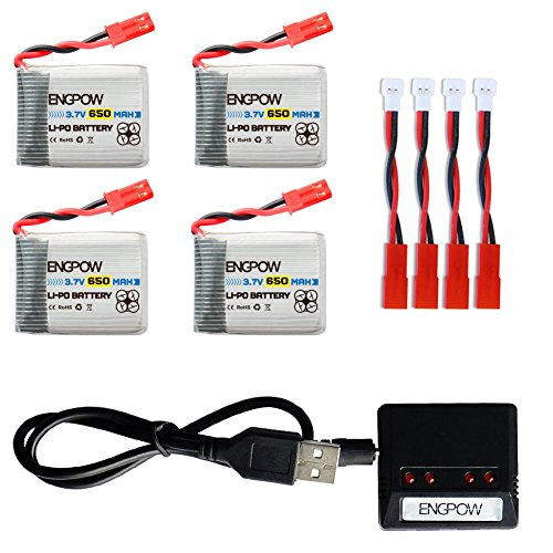 3.7V 650mah Lipo Battery and X4 Charger for X8tw Q1012 Skyhunter QQPOW X8 Foldable FPV Drone Rc Quadcopter(4PCS)