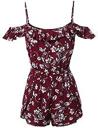 Women's Sleeveless Floral Print Knit Overlay Romper Jumpsuit