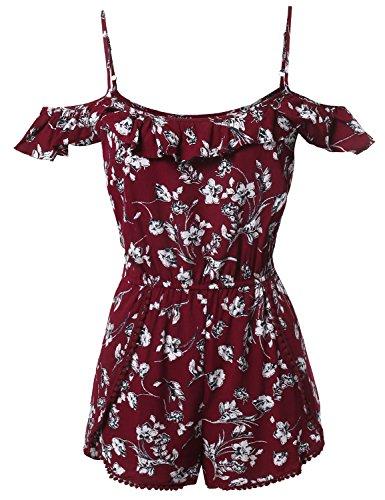 Summer Ruffle Off-Shoulder Strap Floral Print Romper Jumpsuit Burgundy Size M (Plus Size Rompers)