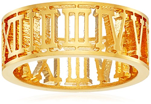 18k Gold Plated Stainless Steel Roman Numeral 8mm Ring, Size ()