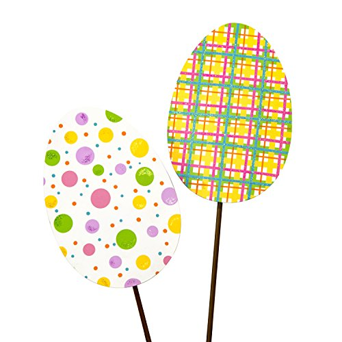 The Round Top Collection Plaid & Dot Eggs, Set of 2/Metal