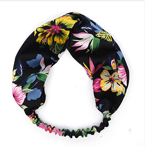 Third person Printing Floral Cross Headband For Women Lady Tropical Rain Forest Style Hairband Elastic Wide Turban Headdress Hair Accessories 1 for $<!--$12.99-->