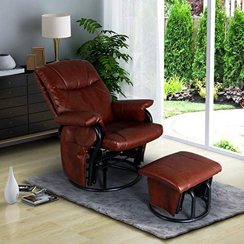 AODAILIHB Glider Chairs Rocking Chair with Ottoman 360 Swivel Chair PU Leather Upholstered Armchair Lounge Chair Sliding Chair Set Brown