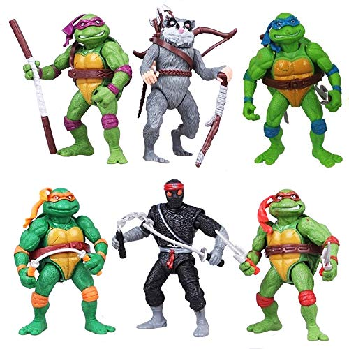 Teenage Mutant Ninja Turtles PVC Action Figures Size 4.5-inch Kids Toy 6pcs/Set Classic Collection TMNT Collection Toys Dolls Gift Decoration Collectible by Norda Toys