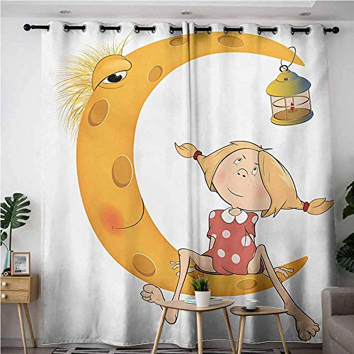 (Beihai1Sun Thermal Insulating Blackout Curtains,Teen Girls Little Girl Sitting Barefoot Moon with Eye and Lamp Childhood Mystery Theme Cartoon,Blackout Draperies for Bedroom,W120x96L,Orange)