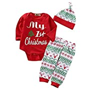 Askwind Unisex Baby Girl Boy Halloween Clothes Long Sleeve Pumpkin Romper with Hat and Pants Outfits Set 3PC (6-12Months, Red1)