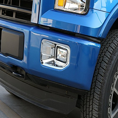 Aspeike ABS Chrome FRONT Bumper Fog Light/Lamp Cover Trim for Ford 2015 2016 2017 Ford F-150-2 pieces Headlight Cover Trim