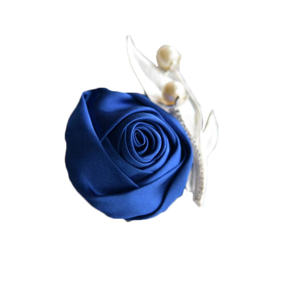 10CM Red Nowbetter Femme Chiffon Fleur Broche Corsage Broche incrust/é Perle Strass f/ête de Mariage N/œud Papillon en Satin 10