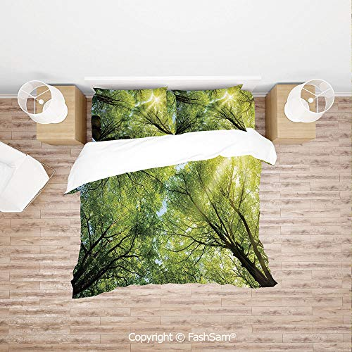 - FashSam Duvet Cover 4 Pcs Comforter Cover Set The Warm Spring Sun Through The Canopy of Tall Beech Trees Romantic Scene for Boys Grils Kids(King)