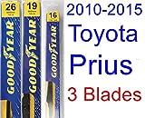2010-2015 Toyota Prius Replacement Wiper Blade Set/Kit (Set of 3 Blades) (Goodyear Wiper Blades-Premium) (2011,2012,2013,2014)