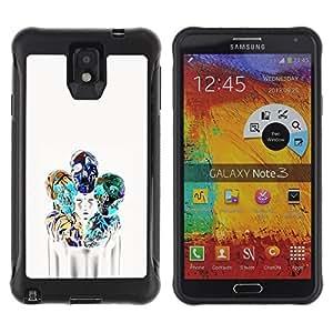 LASTONE PHONE CASE / Suave Silicona Caso Carcasa de Caucho Funda para Samsung Note 3 / Girl Poster Skull Blue White Death
