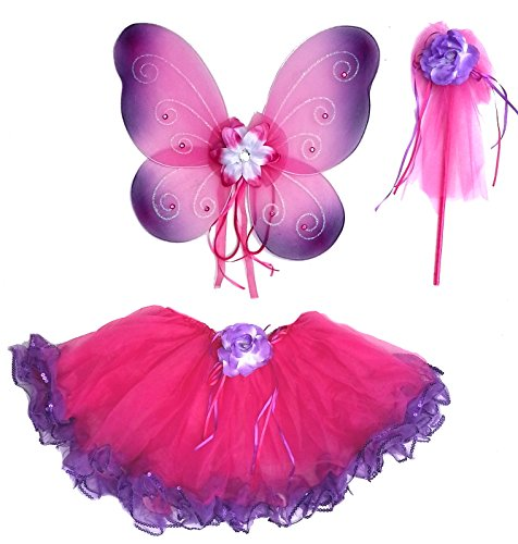 Pink And Purple Tutu Costume (Girls Hot Pink and Purple Fairy Costume with Wings, Rosebud Wand and Tutu)