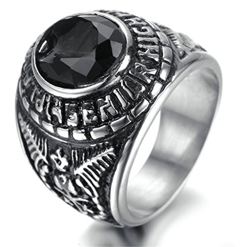 [Stainless Steel Ring for Men, Round Ring Gothic Black Band Silver Band 23*20MM Size 9 Epinki] (Boss Hog Costume)
