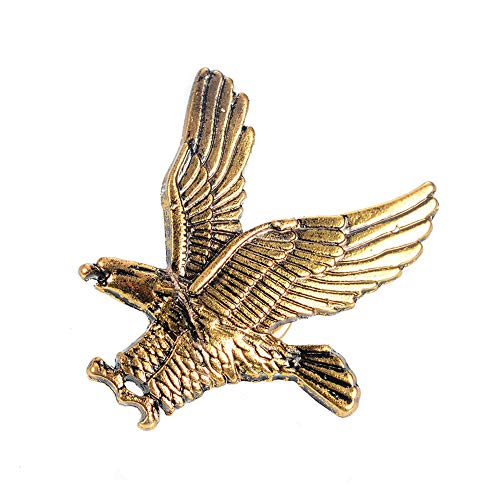 Eagle Birds Brooches Antique Gold Silver Color Animal Corsage Women Men Clothes Hat Accessories (Gold) ()