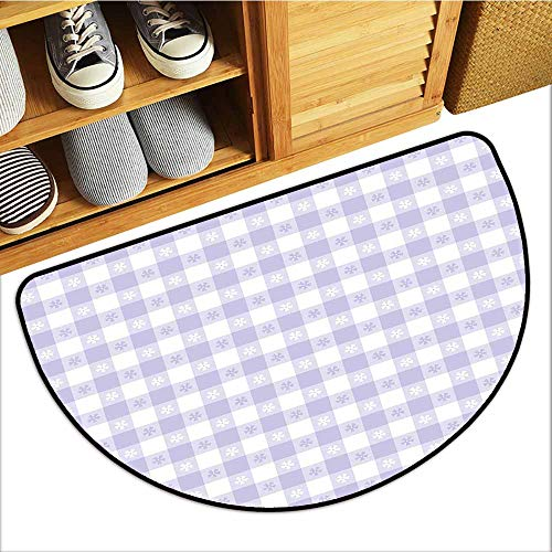 TableCovers&Home Front Door Mat Carpet, Lavender Indoor Out-Imdoor Rugs for Kids Room, Pastel Colored Classic Gingham Check Pattern with Delicate Small Blossoms (Lavander White, H20 x D32 Semicircle)