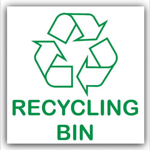 Recycling bin adhesive sticker recycle logo sign environment label amazon co uk kitchen home