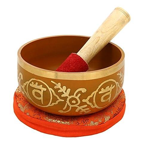 Swadhistana Orange Brass Buddhist Tibetan Singing Bowl with Cushion from India for Meditation Sound Healing Prayer Tuned to the 2th sacral chakra