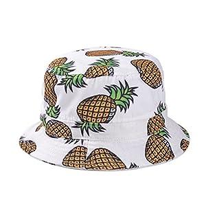 Girls Ladies Headwear Pineapple pattern Wide Rim Flat top fishing Bucket Hat Sun Hat
