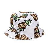 Girls Ladies Headwear Pineapple Pattern Wide Rim Flat top Fishing Bucket Hat Sun Hat (White)