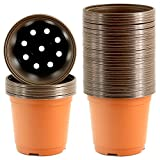 40 Pack 6 Inch Plastic Flower Seedlings Nursery Supplies Planter Pot/pots Containers, Much Thicker Without Any Smell
