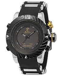 Shark Mens Digital Date Day Alarm LED Black Rubber Waterproof Sport Quartz Wrist Watch SH168