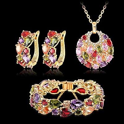 SILYHEART Multicolor Zircon Pendant Necklace Bracelet Earrings Jewelry Set,Women Fashion Jewelry Set, Birthday Gifts Anniversary Gifts for Women