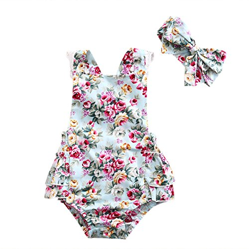 Emmababy Bodusuit Backless Jumpsuit Headband