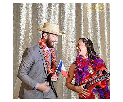 ShinyBeauty 6FTx6FT-Champagne-Simple Sequin Photography Backdrop,Sequin Wedding Curtain,Sequin Photo Booth Backdrop