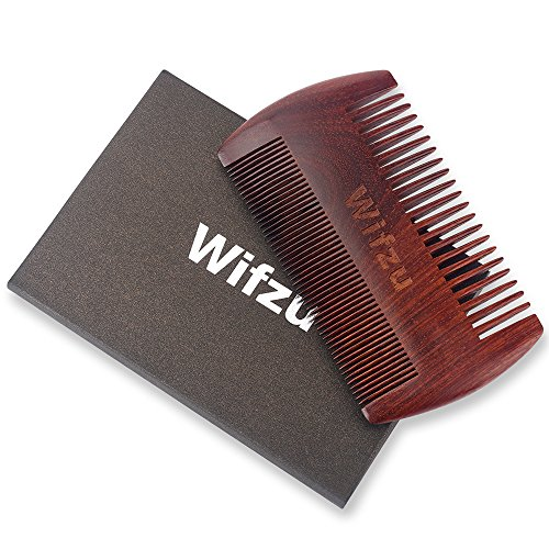Wifzu Beard Comb Wooden Pocket Comb for Men, Natural Sandalwood Double Side Anti-Static with Case