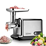 Electric Meat Grinder, Stainless Steel Meat Slicer & Sausage Stuffer 2000W Max, with 3 Grinding Plates, Sausage & Kubbe Kit for Home Kitchen & Commercial Using, ETL Approved, Easy to Clean