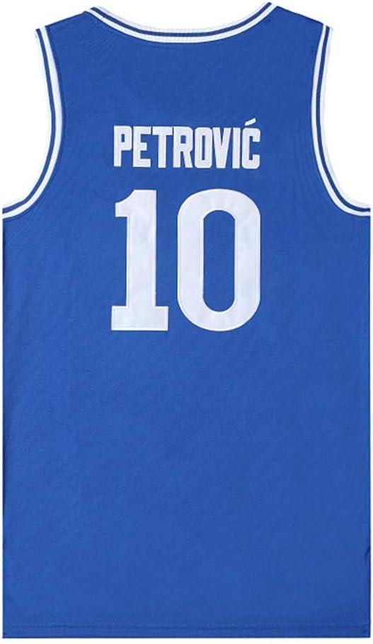New Jersey Tissu de Basket-Ball Masculin Unisexe T-Shirt sans Manches de Basket-Ball NCAA Swingman Jersey Bleu Version du Film # 10 Petrovic Cibona