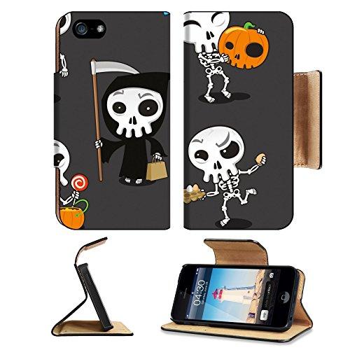 Luxlady Premium Apple iPhone 5 iphone 5S Flip Pu Leather Wallet Case iPhone5 IMAGE ID: 33789044 Halloween Skeleton vector cartoon (Bad News Bears Halloween Costume)