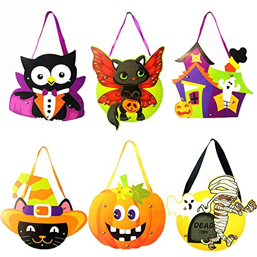 Beser Halloween Trick Or Treat Drawstring Goody Bags-6 Pack Costume Candy Totes Bag,Loot Bag,Toy Goody Gifts for Kids Party Favors,Snacks,Decoration Children Arts,Crafts,Event Supplies. (Style-B) (Do It Yourself Mummy Costume)