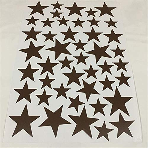 New 45Pcs 3-5Cm Cartoon Starry Wall Stickers for Kids Rooms Home Decor Little Stars Wall Decals Brown 45pcs 3-5cm