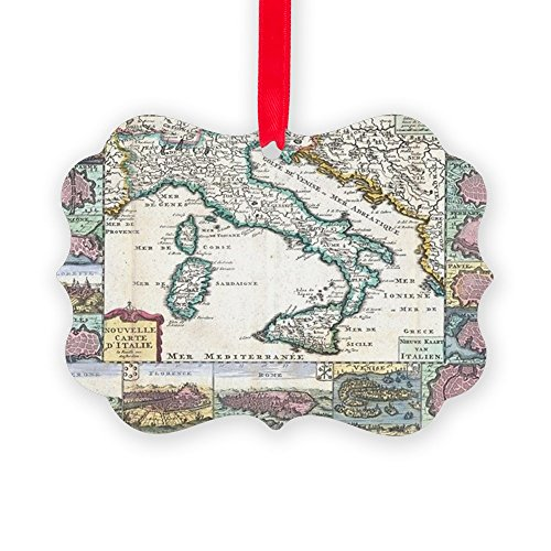CafePress Vintage Map of Italy (1706) Christmas Ornament, Decorative Tree Ornament