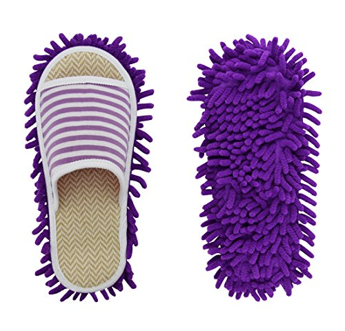 Price comparison product image Xunlong Unisex Microfiber Slipper Floor Cleaning Mop Men and Women House Slippers Dust Cleaning Tool Slipper Genie (Stripe purple,  Women 7-10 / Men5-8)