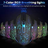 VersionTECH RGB Gaming Mouse, Ergonomic USB Wired Optical Mouse Mice with 7 Colors LED Backlight, 4 DPI Settings Up to 2400 DPI, 6 Programmed Buttons for Laptop PC Computer Games & Work – Black
