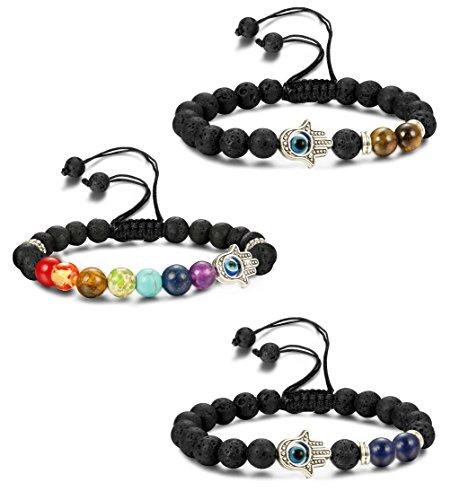 LOYALLOOK 3pcs Evil Eye Bracelet Lava Stone Beads Essential Oil Diffuser Bracelet For Men Women Braided