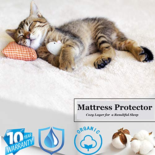 Honice Premium Mattress Protector 100% Waterproof Breathable & Noiseless Mattress Pad Cover | Vinyl Free Dust Proof Smooth Soft Cotton Terry Covers