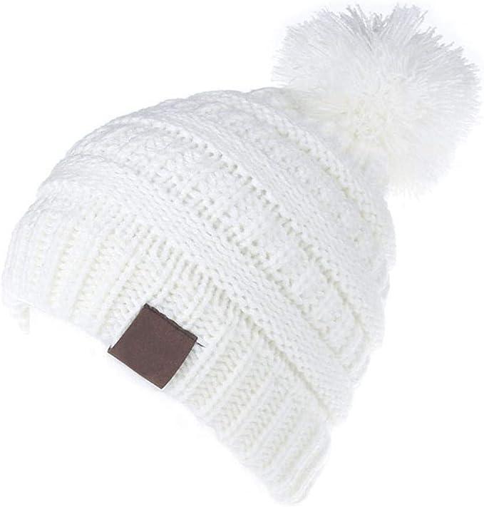 KOBWA Gorro de punto para bebé, de lana de calidad para invierno, cálido gorro de esquí, gorra de punto para bebés y niñas Blanco: Amazon.es: Hogar
