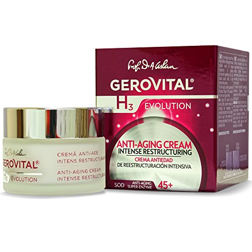 GEROVITAL H3 EVOLUTION, Anti-Aging Cream Intensive Restructuring With Superoxide Dismutase (The Anti-Aging Super Enzyme) 45+ (1.69 FL.OZ) - Intensive Protection Spf 15 Moisturizer