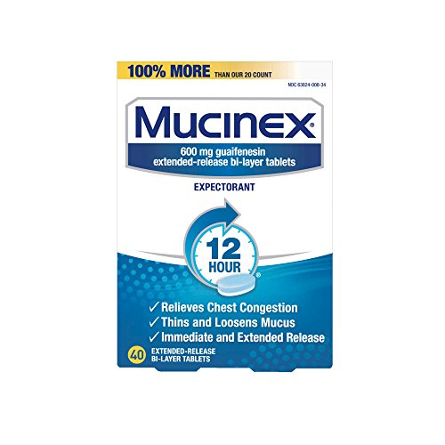 Mucinex 12 Hr Chest Congestion Expectorant, Tablets, 40ct