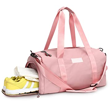 df5f23c86ee5 Sports Gym Bag with Wet Pocket & Shoes Compartment Waterproof Swim  Overnight Travel Duffel Bag for Women and Men 20-35L (pink)