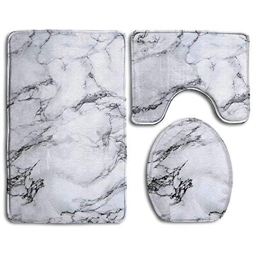EnmindonglJHO White Marble Super Cute 3 Piece Bathroom Rug Set Bath Rug, Contour Mat, Lid Cover Non-Slip with Rubber…