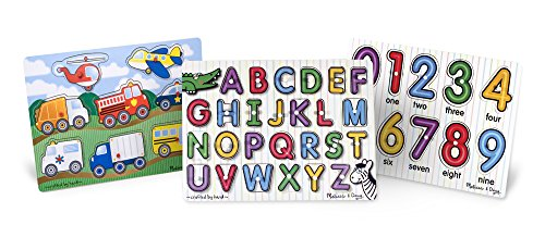 Melissa & Doug Wooden Peg Puzzles Set - Alphabet, Numbers, and Vehicles