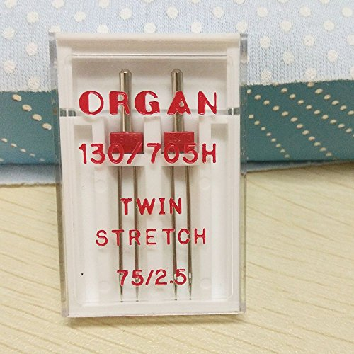 Household Sewing Machine Twin Needle for Organ,Twin Needles 7 Sizes for You to Choose (Twin Stretch 75/2.5mm)